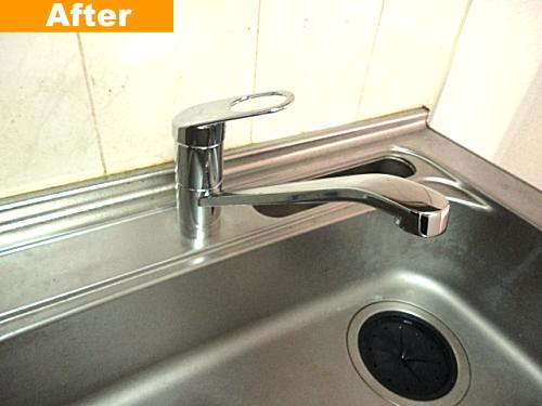 交換後のシングルレバー水栓器具