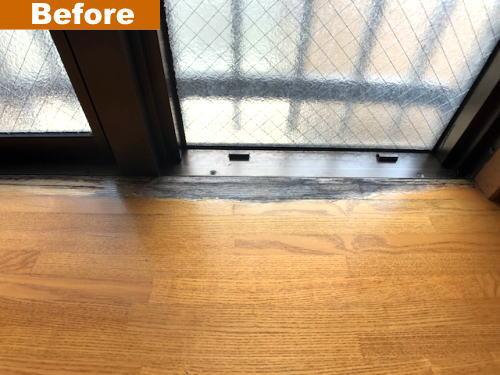 劣化した木製出窓