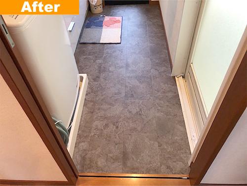 工事後の洗面所床